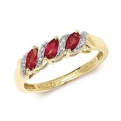 £259 • Buy 9ct Yellow Gold Ruby And Diamond Eternity Style Ring, Sizes J To Q (274)