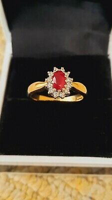 £370 • Buy Vintage Ruby And Diamond Cluster 18ct Gold Ring Size O 4.7g