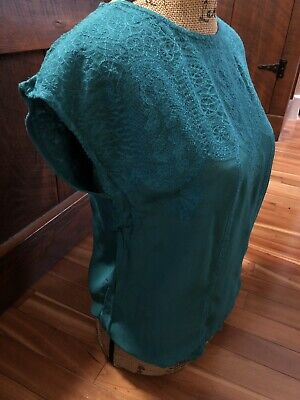 $ CDN15.72 • Buy Anthropologie Maeve Beautiful Embroidered Short Slv Blouse- Sky Green- XS-NWT