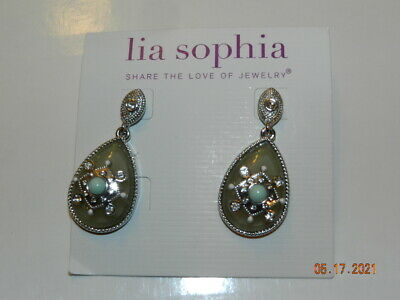 $ CDN30.24 • Buy Lia Sophia  Antiquarian  Silver Tone W/Cut Crystals & Resin Earrings