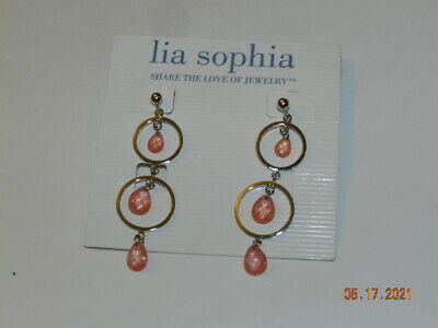 $ CDN27.82 • Buy Lia Sophia Passion Fruit Earrings Silvertone Coral/peach Cut Crystals Round