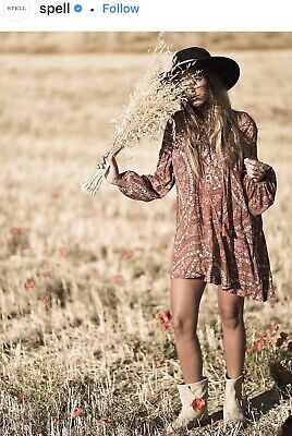 AU159 • Buy Spell Designs Gypsy Boho Celestial City Lights Lace Up Tunic Dress Top Bnwt M