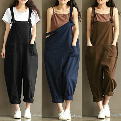 AU20.29 • Buy Womens Vintage Loose Dungarees Strappy Oversized Romper Baggy Overalls Jumpsuit