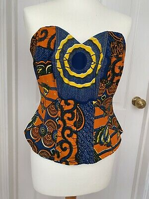 £15 • Buy Cute African Print Boned Bodice / Corset With Zip Fastening - Size 14 Approx