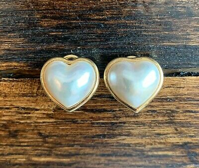 $545 • Buy 14k Yellow Gold / Mabe Pearl / Heart / Omega Back Earrings: Appraised $900