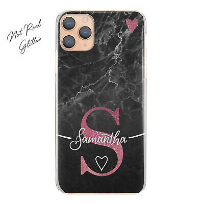 AU15.48 • Buy Personalised Initial Phone Case, Pink Heart On Black Marble Hard Cover With Name
