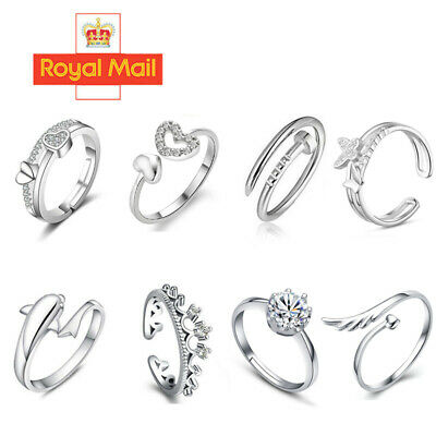 £2.59 • Buy Womens 925 Sterling Silver Rings Adjustable Thumb Wedding Engagement Gift