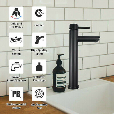 £21.99 • Buy Bathroom Basin Mixer Taps Single Lever Tall Counter Faucet Black Brushed Tap