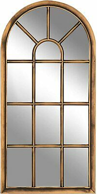 £39.87 • Buy Arched Brushed Copper Window Shape Arch Mirror Gothic In/Outdoor Wall Mountable