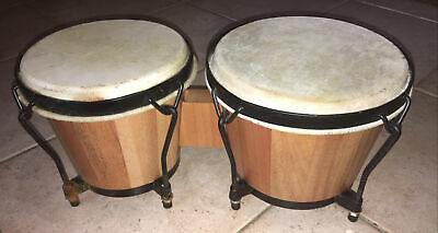 £27.18 • Buy Bongo Percussion Drum 7 Inch 8inch Skin Natural Instrument To Hand Wooden
