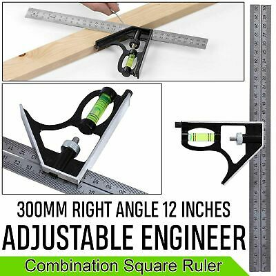 £4.19 • Buy 12 Inch 300mm Adjustable Engineers Combination Right Angle Ruler Try Square Set