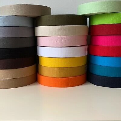 £3.50 • Buy French 100% Cotton Thick 2mm Webbing Belt Tape Strap 30mm - Sold By The Metre