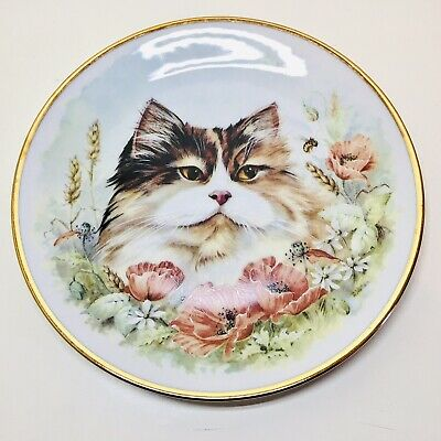 £14.99 • Buy Signed D Wallace Plate Persian Cat Poppies AJL Giftware Porcelain Stoke On Trent