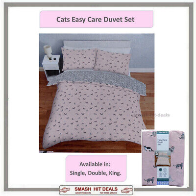 £16.99 • Buy Cat Print Duvet Cover Set Cotton Blend Pink - Choose From Single Double Or King