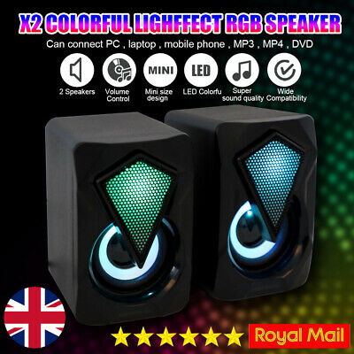 £8.59 • Buy Surround Sound System LED PC Speakers Gaming Bass USB Wired For Desktop Computer