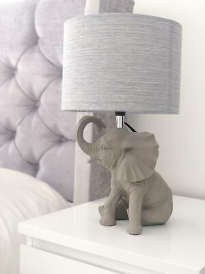 £49.99 • Buy CGC Grey Resin Elephant Table Lamp With Fabric Grey Shade Bedside Coffee Light