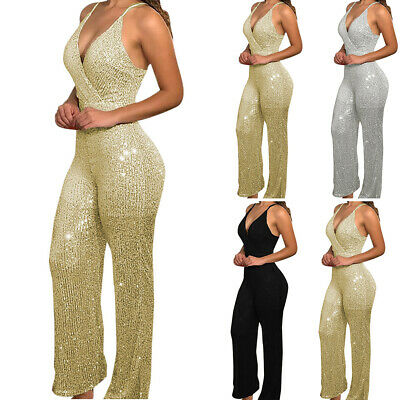 £13.67 • Buy Women Glitter Sequin Strappy V Neck Jumpsuit Ladies Cocktail Party Club Playsuit