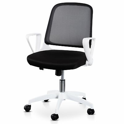 AU128 • Buy Heston Black Office Chair - White Arm And Base