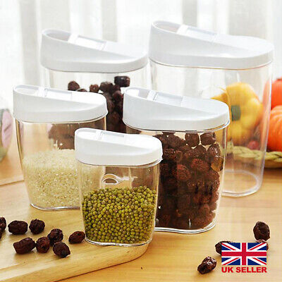 £6.59 • Buy 5pcs Cereal Dispenser Dry Food Pasta Rice Storage Container Plastic Clear Box