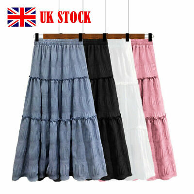 £10.33 • Buy Ladies Skirt Maxi Embroidered Lace Gypsy Boho Casual Festival 10 12 14 16