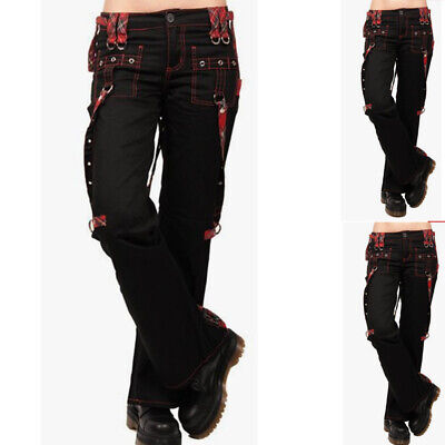 £11.09 • Buy Women Gothic Plaid Check Cargo Pants Ladies Steampunk Buckle Casual Trousers