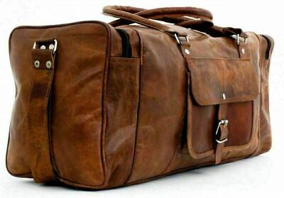 $46.50 • Buy New Men 24  Genuine Leather Large Duffle Travel Gym Sport Weekend Overnight Bag