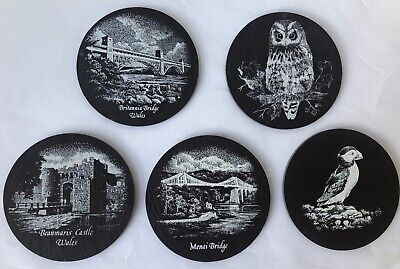 £7.99 • Buy Welsh Slate Drinks Coasters Set Of 5 Vintage Owl Puffin Beaumaris Castle Round