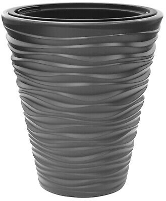 £18.99 • Buy Large Rippled Stone Grey Planter Plant Pot 44cm Tall Indoor & Outdoor Planter