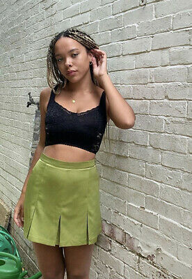 £19.50 • Buy Urban Outfitters Archive Green Satin Pleated Skirt Size XS RP £39