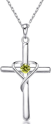 AU74.98 • Buy 925 Sterling Silver Cross Necklace For Women Birthstone Pendant Gifts For Mom