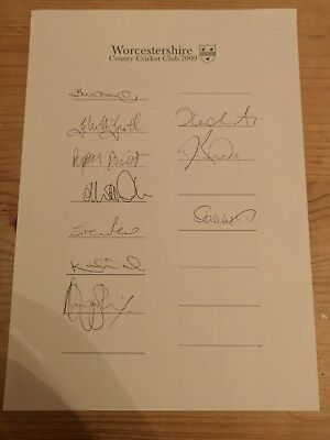 £15 • Buy Worcestershire Cricket 2000 Squad Hand Signed Team Sheet-unique!!