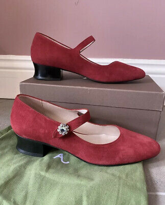 AU199 • Buy Alexa Chung Red Suede Mary Jane Ballet Flats Brand New