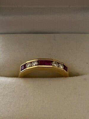 £375 • Buy Ruby And Diamond Eternity Ring In 18ct Gold