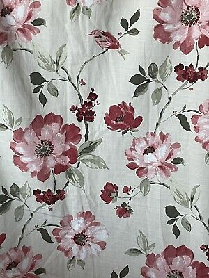 £35 • Buy DUNELM MILL Vivienne Bird Floral Red Pink Long Lined Pair Curtains W 66  X L 72