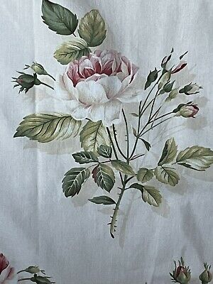 """£50 • Buy SANDERSON English Rose Cream Pink Lined Pleated Wide Pair Curtains W 80 X L 54"""""""