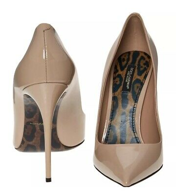 £145 • Buy Dolce & Gabbana Leather Nude Beige Patent High Heels Shoes 7/40