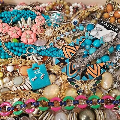 $ CDN127 • Buy Vintage To Modern Jewelry Lot All Wearable Necklaces Brooches Earrings Rings