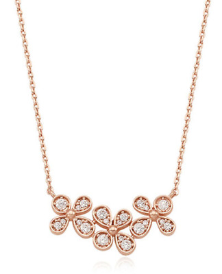 $ CDN78.93 • Buy Stone Henge Silver Necklace SC1215 Rose Gold Plated Cubic Zirconia