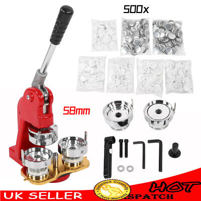 £125.36 • Buy 58mm Button Maker Machine DIY Red Badge Press Kit With 500pc Buttons Metal Plate