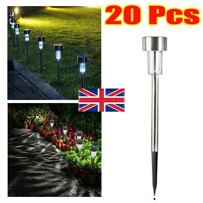 £8.99 • Buy 10x White Solar Power LED Stake Lights Patio Outdoor Garden Lawn Path Lamp Hot