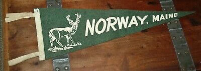 $25 • Buy Rare Norway, Maine Pennant Vintage New England Collectible 23  Green Deer