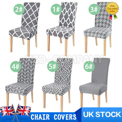 £4.99 • Buy 1PCS Dining Chair Seat Covers Slip Stretch Wedding Banquet Party Removable Grey