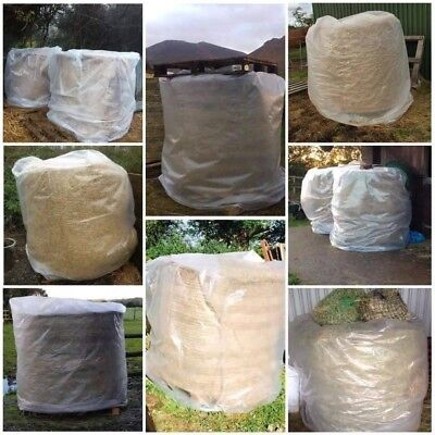 £14.99 • Buy 2 X BALE COVER 4FT HAY STRAW ROUND BALES 300G POLYTHENE HORSE NET RUG BAG BAGS
