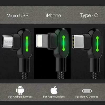 AU15.95 • Buy USB Cables 90 Degree Fast Smart Charging Cable For IPhone / Type-C / Micro-USB