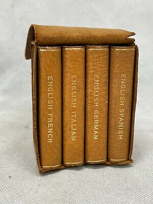 £38 • Buy Vintage Miniature Travel Dictionaries Books In Pigskin Leather Case.