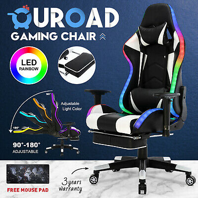 AU209.90 • Buy LED Office Computer Gaming Chair Executive Racer Recliner PU Seat W/ Footrest