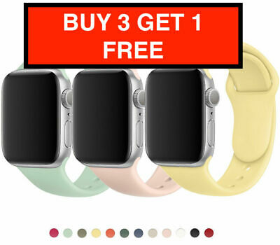 £2.82 • Buy For Apple Watch Strap Band IWatch Series 6 SE 5 4 3 38/40/42/44mm SILICONE SPORT