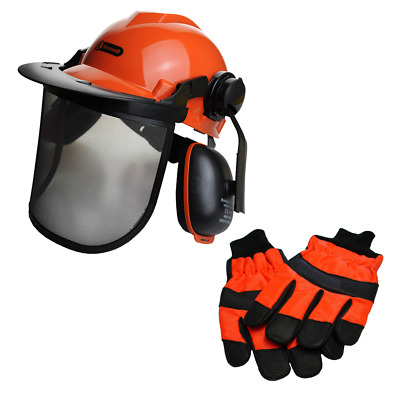 £29.95 • Buy Rocwood Chainsaw Forestry Safety Helmet And Chainsaw Gloves Size 9 Medium