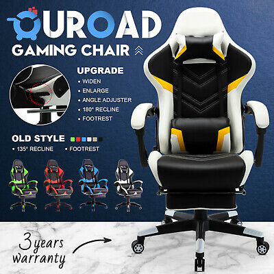 AU26.90 • Buy Executive Office Gaming Chair Racer Recliner Footrest Computer PU Leather Seat