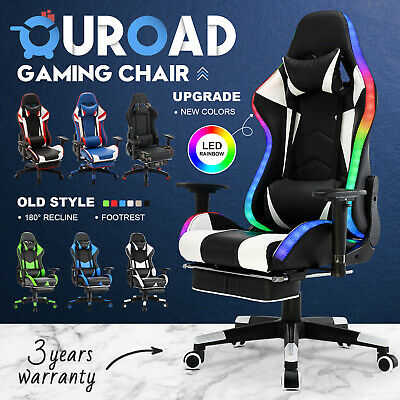 AU179.90 • Buy Computer Gaming Chair Executive Office Racing PU Seat Footrest 180° Backward
